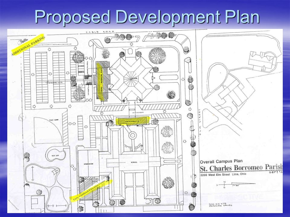 Assessment Review  Determine best use of 2 lots on Primrose Street  Determine best use of current Rectory and current Office Building (5 lots)  Study advantages/disadvantages of vacating Primrose Street –From Elm Street to Lowell Avenue