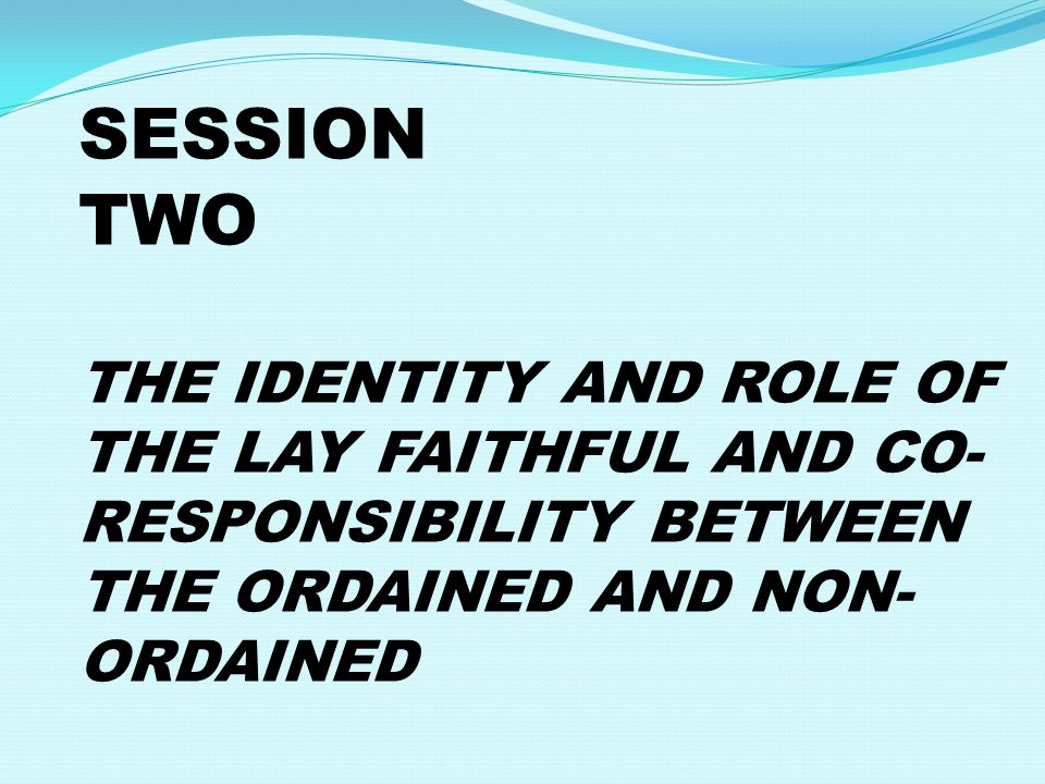 SESSION TWO THE IDENTITY AND ROLE OF THE LAY FAITHFUL AND CO- RESPONSIBILITY BETWEEN THE ORDAINED AND NON- ORDAINED