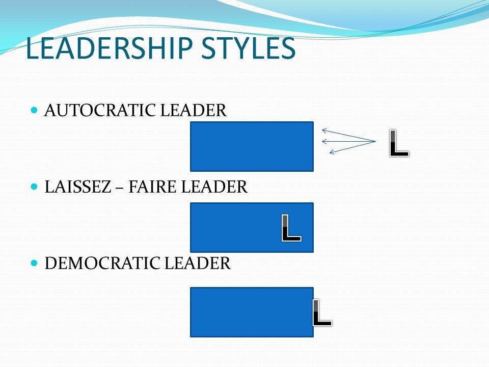 LEADERSHIP STYLES AUTOCRATIC LEADER LAISSEZ – FAIRE LEADER DEMOCRATIC LEADER
