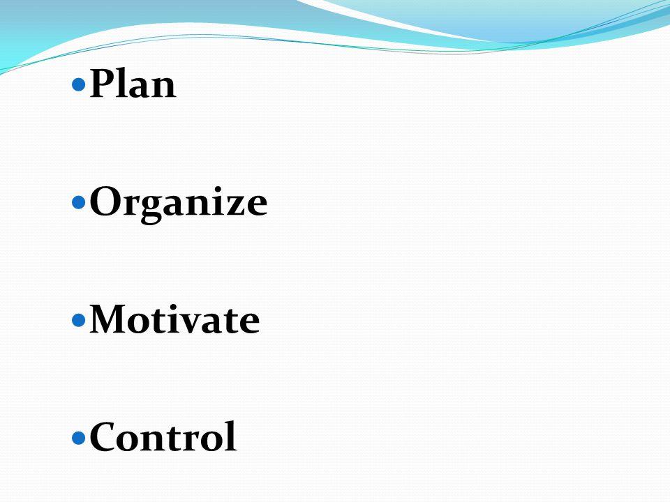 Plan Organize Motivate Control
