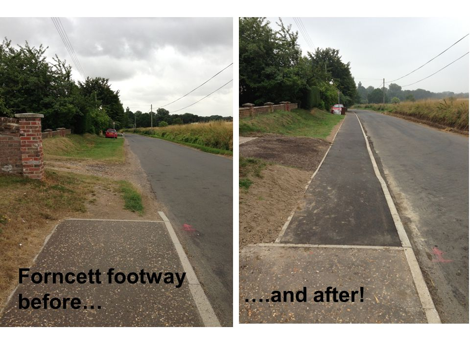 Forncett footway before… ….and after!