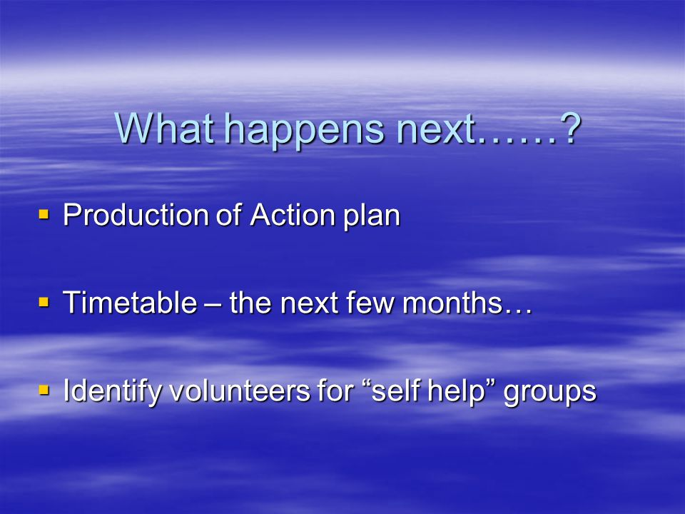 "What happens next……?  Production of Action plan  Timetable – the next few months…  Identify volunteers for ""self help"" groups"