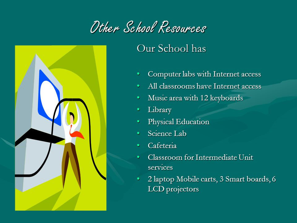 Other School Resources Our School has Computer labs with Internet access All classrooms have Internet access Music area with 12 keyboards Library Physical Education Science Lab Cafeteria Classroom for Intermediate Unit services 2 laptop Mobile carts, 3 Smart boards, 6 LCD projectors