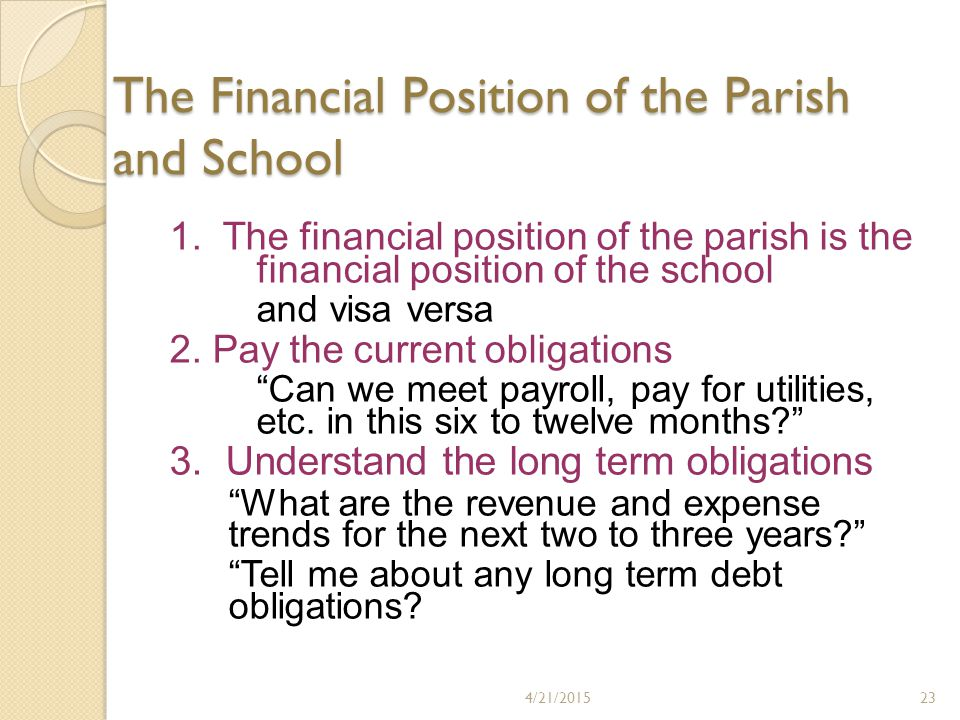 The Financial Position of the Parish and School 1.