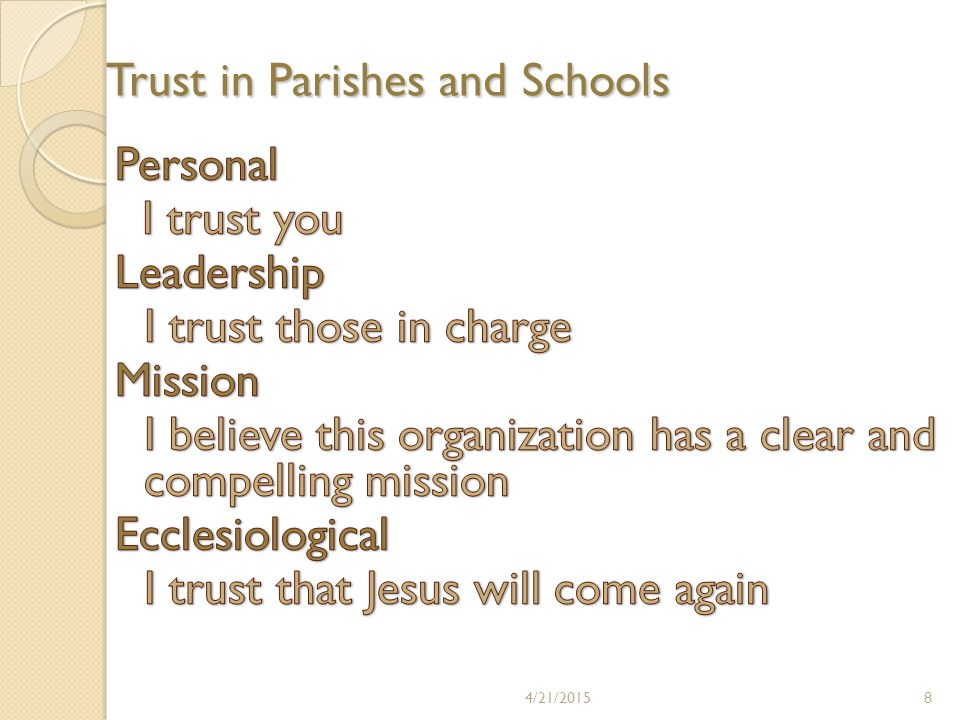 Trust in Parishes and Schools 4/21/20158