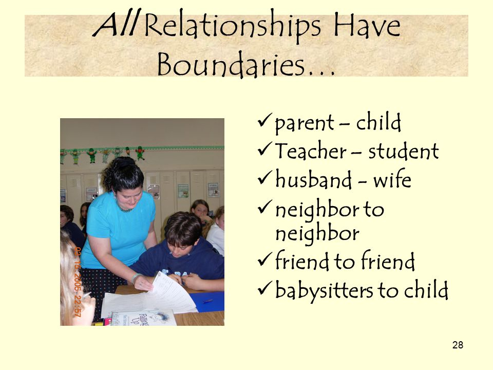 28 All Relationships Have Boundaries… parent – child Teacher – student husband - wife neighbor to neighbor friend to friend babysitters to child