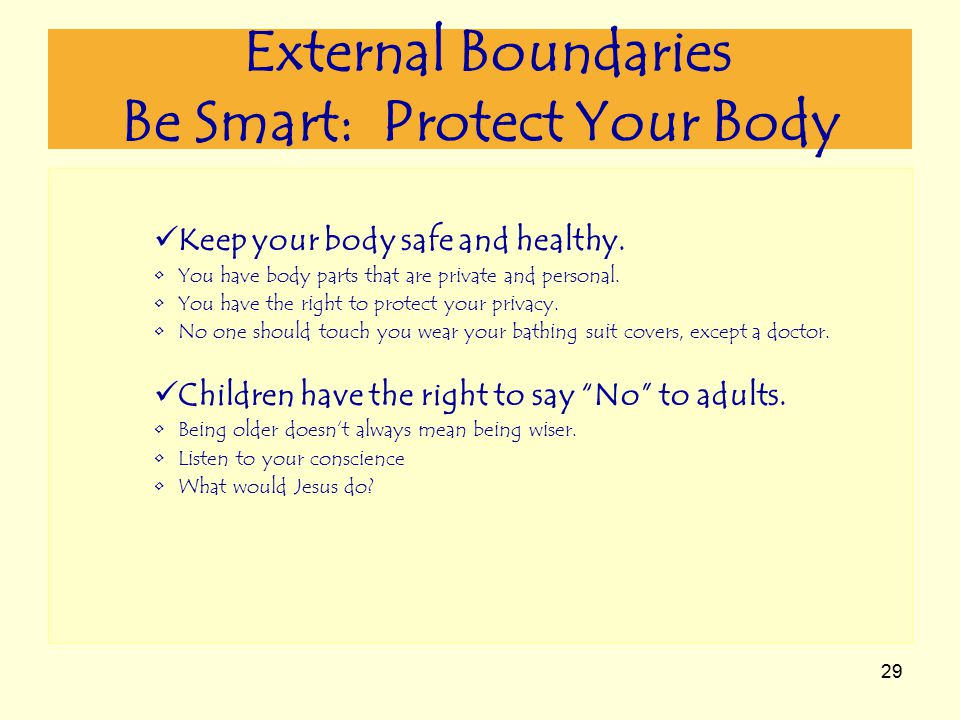 29 External Boundaries Be Smart: Protect Your Body Keep your body safe and healthy.
