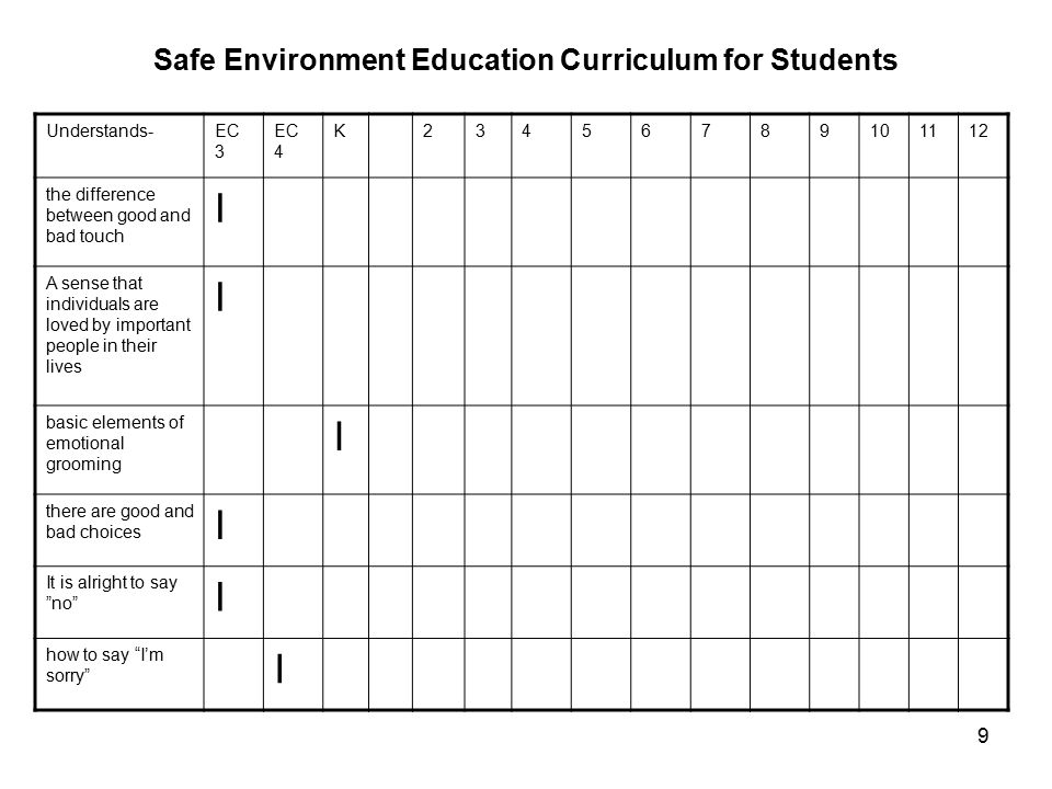9 Safe Environment Education Curriculum for Students Understands-EC 3 EC 4 K23456789101112 the difference between good and bad touch I A sense that individuals are loved by important people in their lives I basic elements of emotional grooming I there are good and bad choices I It is alright to say no I how to say I'm sorry I
