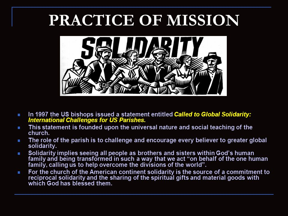 QUESTIONS FOR REFLECTION Describe the link between spirituality and practice of mission.