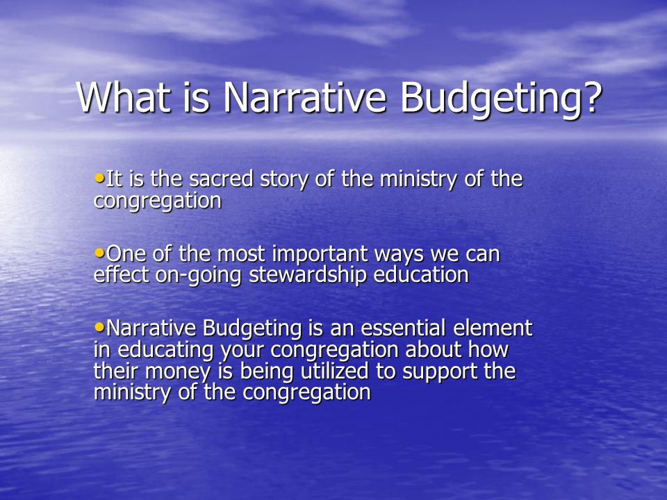 What is Narrative Budgeting.