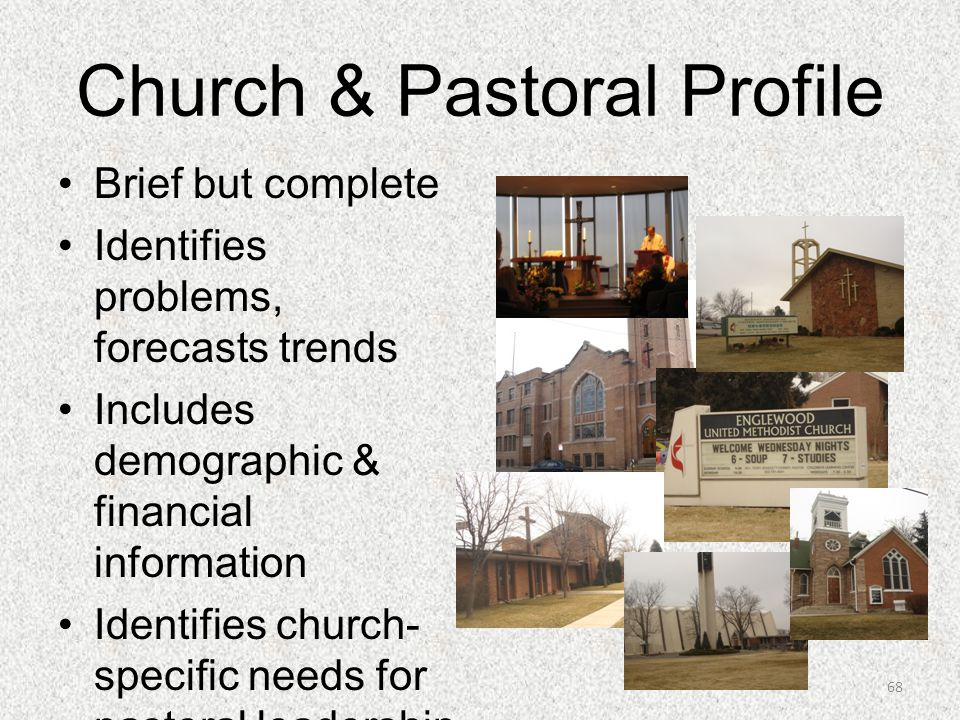 Church & Pastoral Profile Brief but complete Identifies problems, forecasts trends Includes demographic & financial information Identifies church- spe