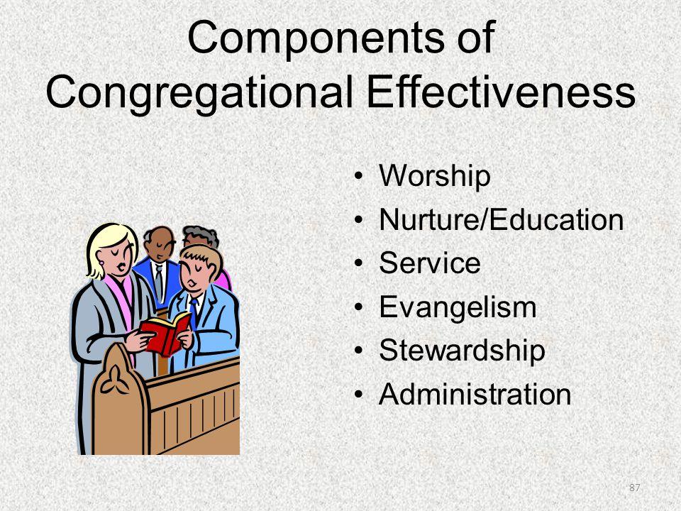 Components of Congregational Effectiveness Worship Nurture/Education Service Evangelism Stewardship Administration 87