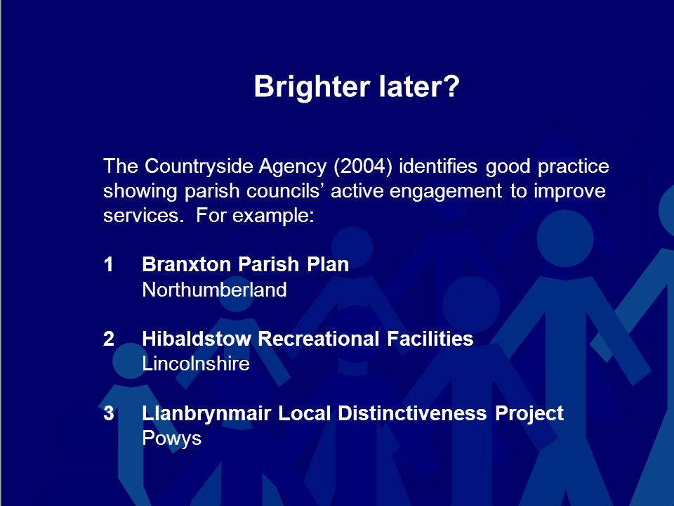 So can parish councils rise to the challenge.