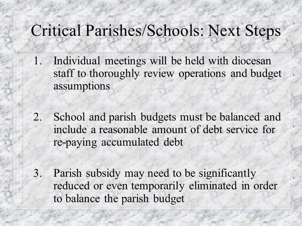 Critical Parishes/Schools: Next Steps 1.Individual meetings will be held with diocesan staff to thoroughly review operations and budget assumptions 2.School and parish budgets must be balanced and include a reasonable amount of debt service for re-paying accumulated debt 3.Parish subsidy may need to be significantly reduced or even temporarily eliminated in order to balance the parish budget
