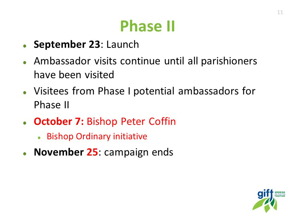 11 Phase II September 23: Launch Ambassador visits continue until all parishioners have been visited Visitees from Phase I potential ambassadors for Phase II October 7: Bishop Peter Coffin Bishop Ordinary initiative November 25: campaign ends