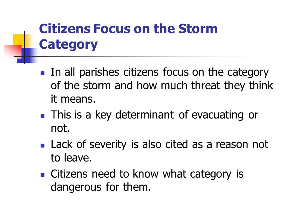 Citizens Focus on the Storm Category In all parishes citizens focus on the category of the storm and how much threat they think it means.