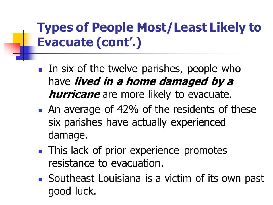Types of People Most/Least Likely to Evacuate (cont'.) In six of the twelve parishes, people who have lived in a home damaged by a hurricane are more likely to evacuate.