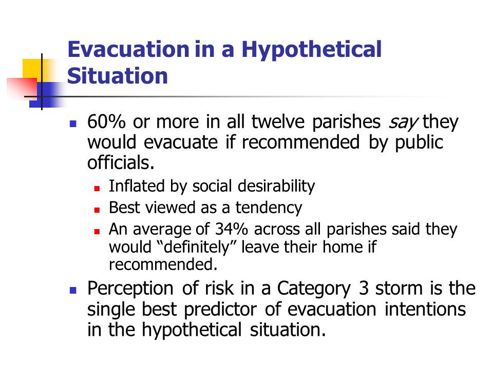 Evacuation in a Hypothetical Situation 60% or more in all twelve parishes say they would evacuate if recommended by public officials.
