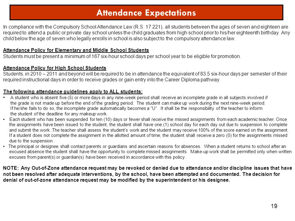 19 Attendance Expectations In compliance with the Compulsory School Attendance Law (R.S. 17:221), all students between the ages of seven and eighteen