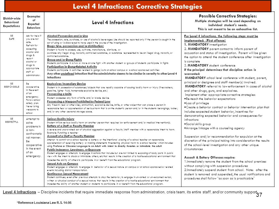 37 Level 4 Infractions: Corrective Strategies District- wide Behavioral Expectations Examples of Expected Behaviors Level 4 Infractions Possible Corre