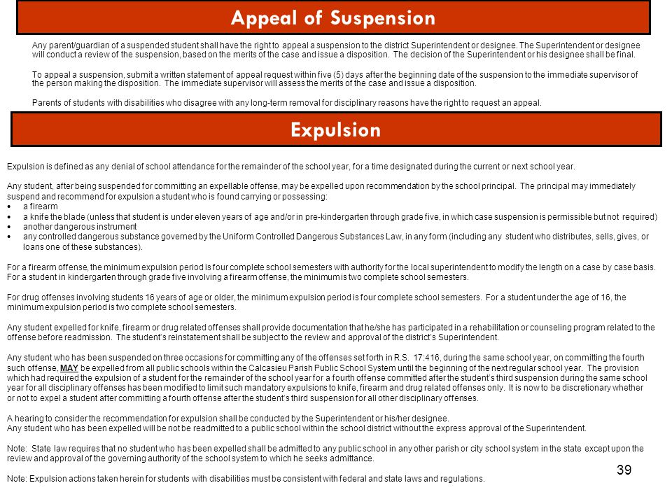 39 Any parent/guardian of a suspended student shall have the right to appeal a suspension to the district Superintendent or designee. The Superintende