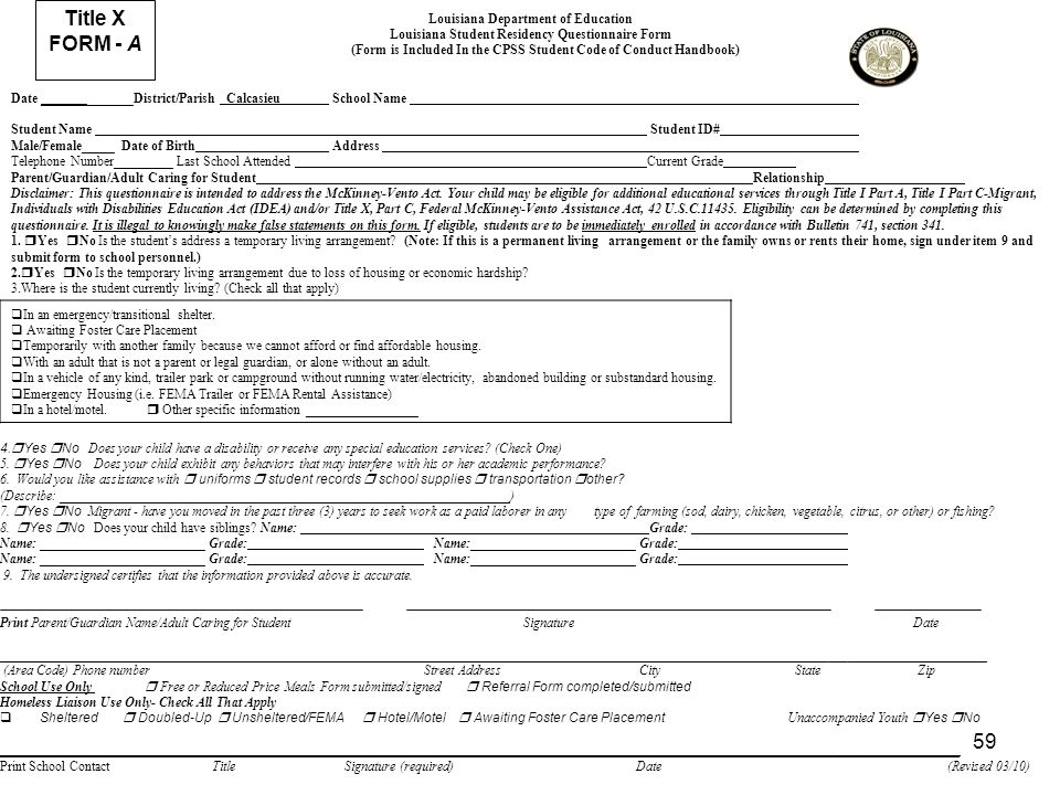 59 Title X FORM - A Louisiana Department of Education Louisiana Student Residency Questionnaire Form (Form is Included In the CPSS Student Code of Con
