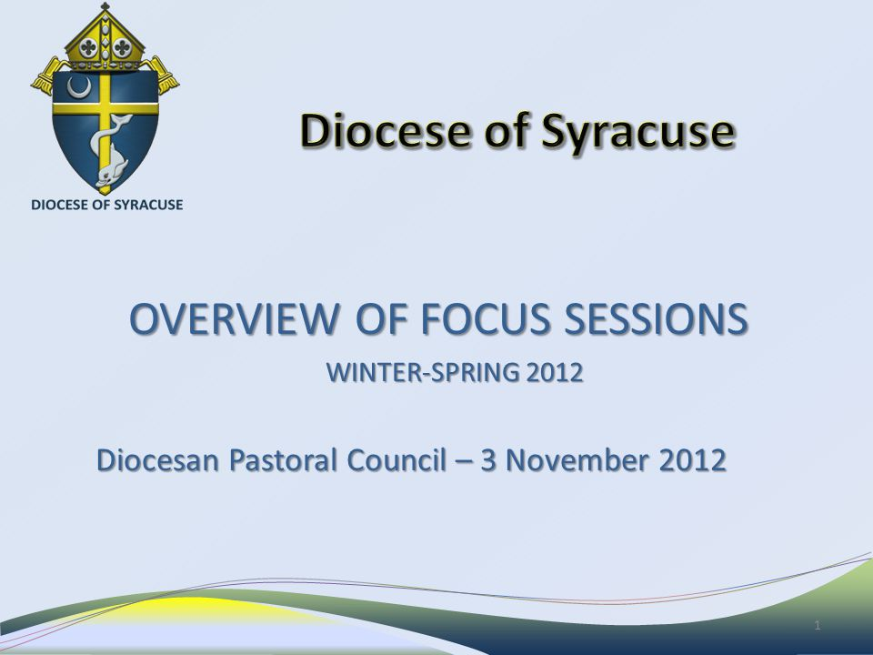 OVERVIEW OF FOCUS SESSIONS OVERVIEW OF FOCUS SESSIONS WINTER-SPRING 2012 Diocesan Pastoral Council – 3 November 2012 1