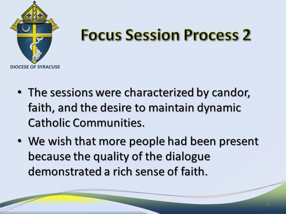 The sessions were characterized by candor, faith, and the desire to maintain dynamic Catholic Communities.