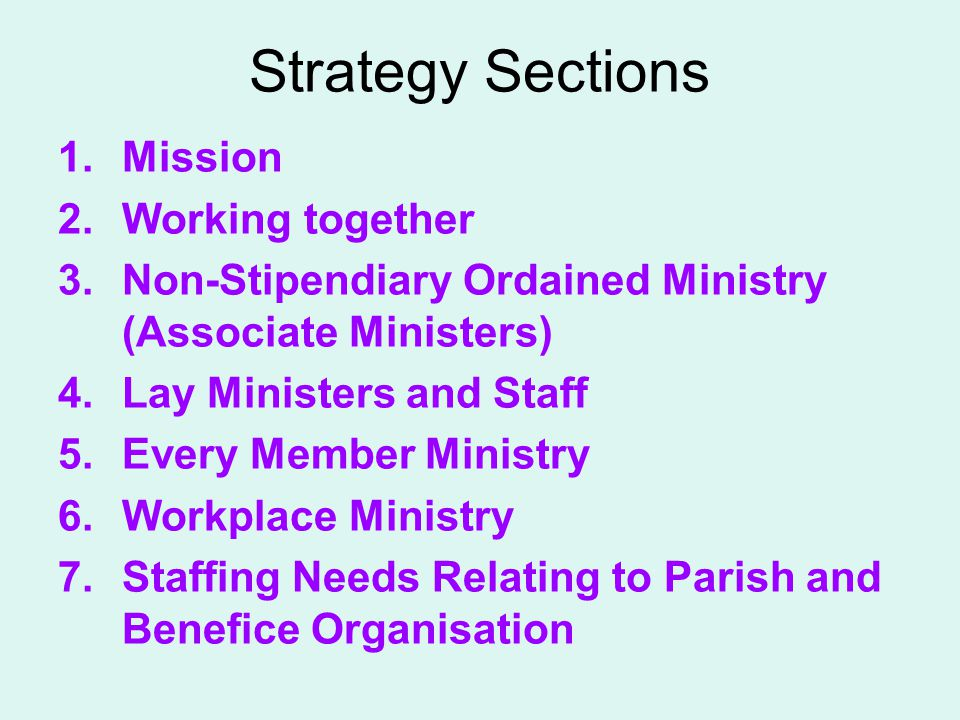 Strategy Sections 1.Mission 2.Working together 3.Non-Stipendiary Ordained Ministry (Associate Ministers) 4.Lay Ministers and Staff 5.Every Member Mini