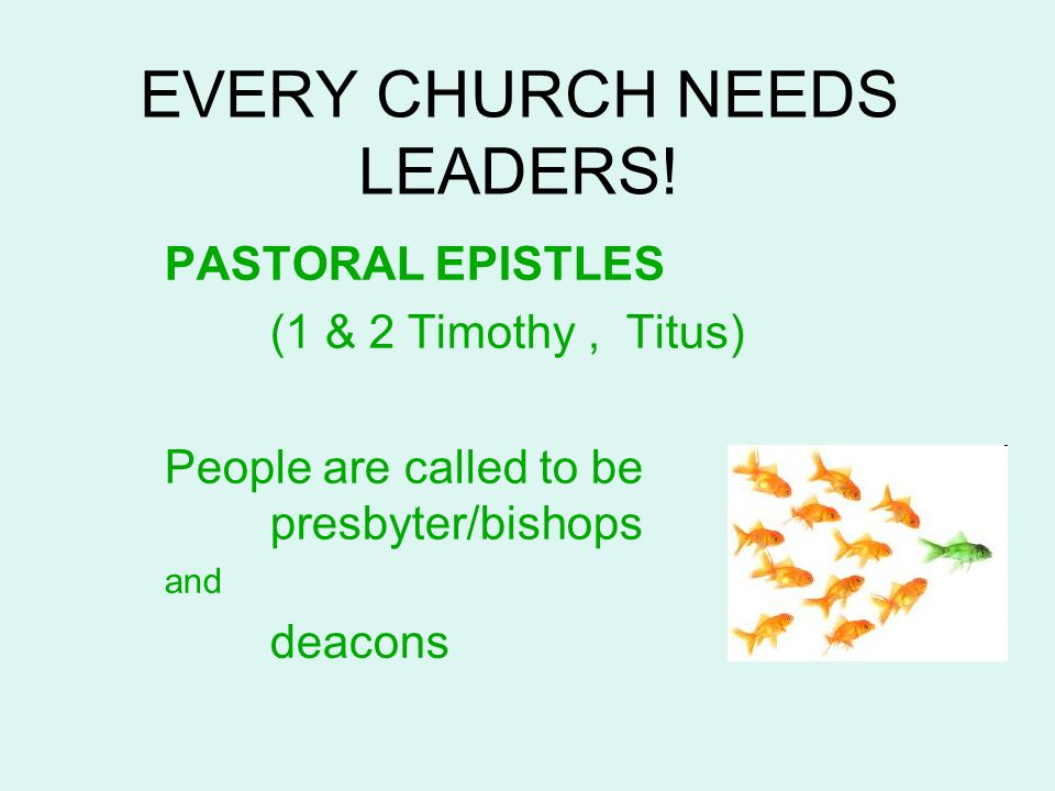 EVERY CHURCH NEEDS LEADERS! PASTORAL EPISTLES (1 & 2 Timothy, Titus) People are called to be presbyter/bishops and deacons