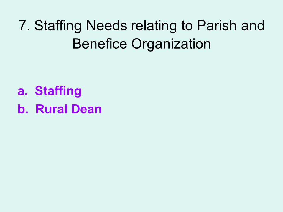 7. Staffing Needs relating to Parish and Benefice Organization a. Staffing b. Rural Dean