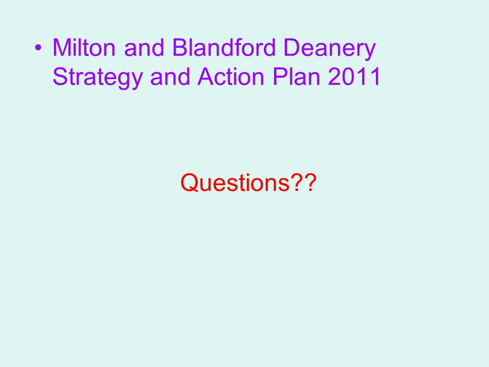Milton and Blandford Deanery Strategy and Action Plan 2011 Questions??