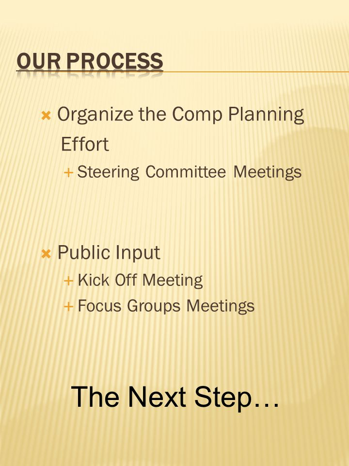 Organize the Comp Planning Effort  Steering Committee Meetings  Public Input  Kick Off Meeting  Focus Groups Meetings The Next Step…