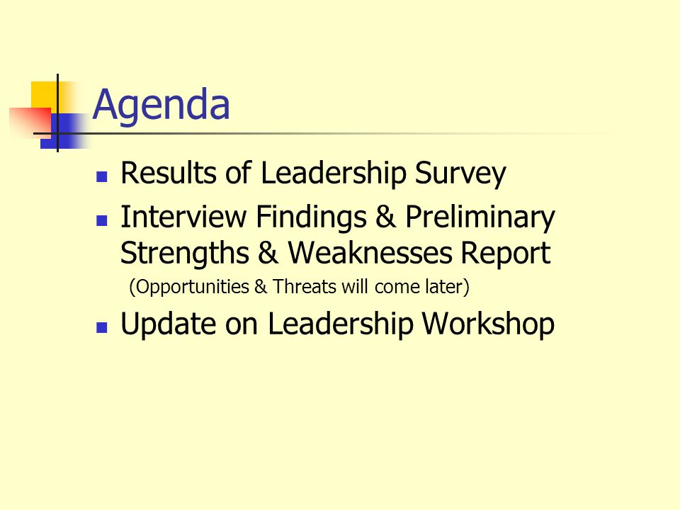 Agenda Results of Leadership Survey Interview Findings & Preliminary Strengths & Weaknesses Report (Opportunities & Threats will come later) Update on Leadership Workshop