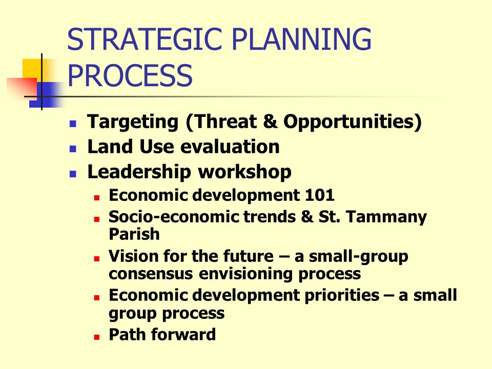 STRATEGIC PLANNING PROCESS Targeting (Threat & Opportunities) Land Use evaluation Leadership workshop Economic development 101 Socio-economic trends & St.