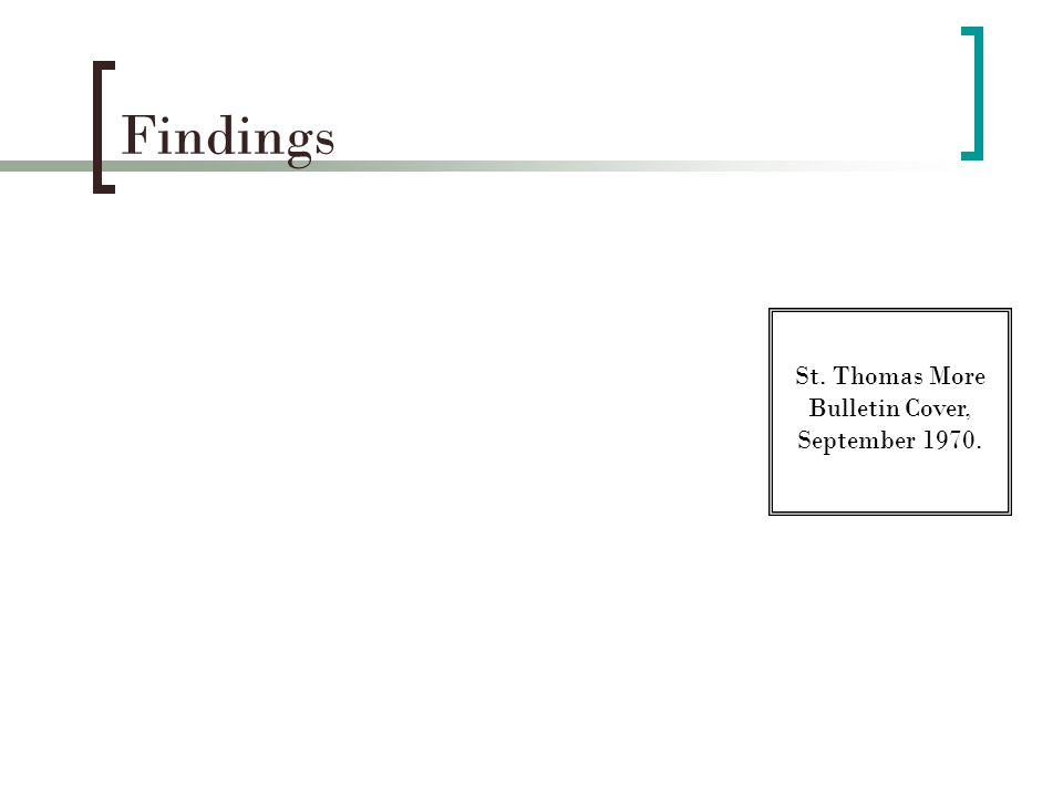 Findings St. Thomas More Bulletin Cover, September 1970.
