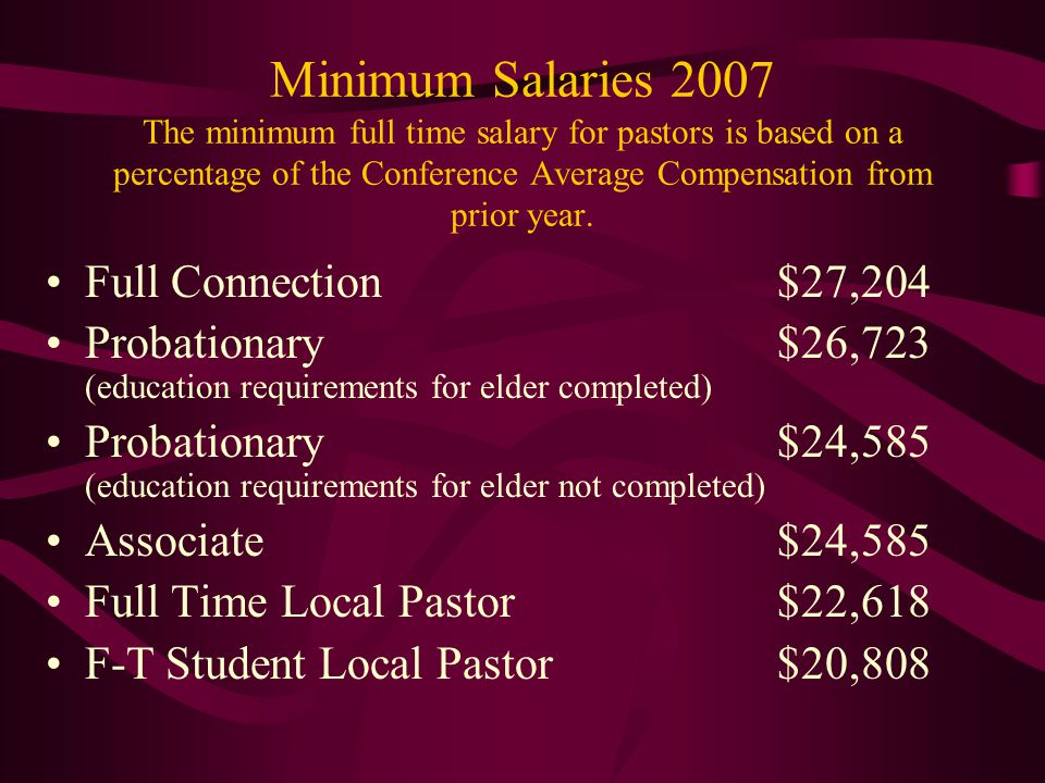Minimum Salaries 2007 The minimum full time salary for pastors is based on a percentage of the Conference Average Compensation from prior year. Full C