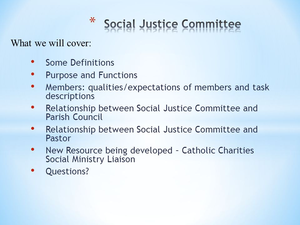 Some Definitions Purpose and Functions Members: qualities/expectations of members and task descriptions Relationship between Social Justice Committee and Parish Council Relationship between Social Justice Committee and Pastor New Resource being developed – Catholic Charities Social Ministry Liaison Questions.