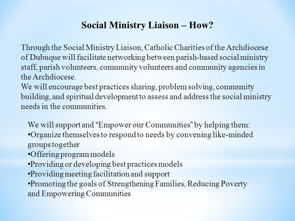Social Ministry Liaison – How.