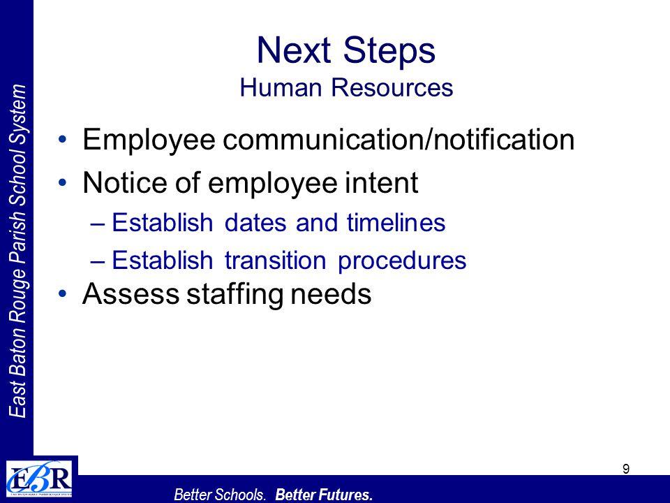 East Baton Rouge Parish School System Better Schools. Better Futures. 9 Next Steps Human Resources Employee communication/notification Notice of emplo