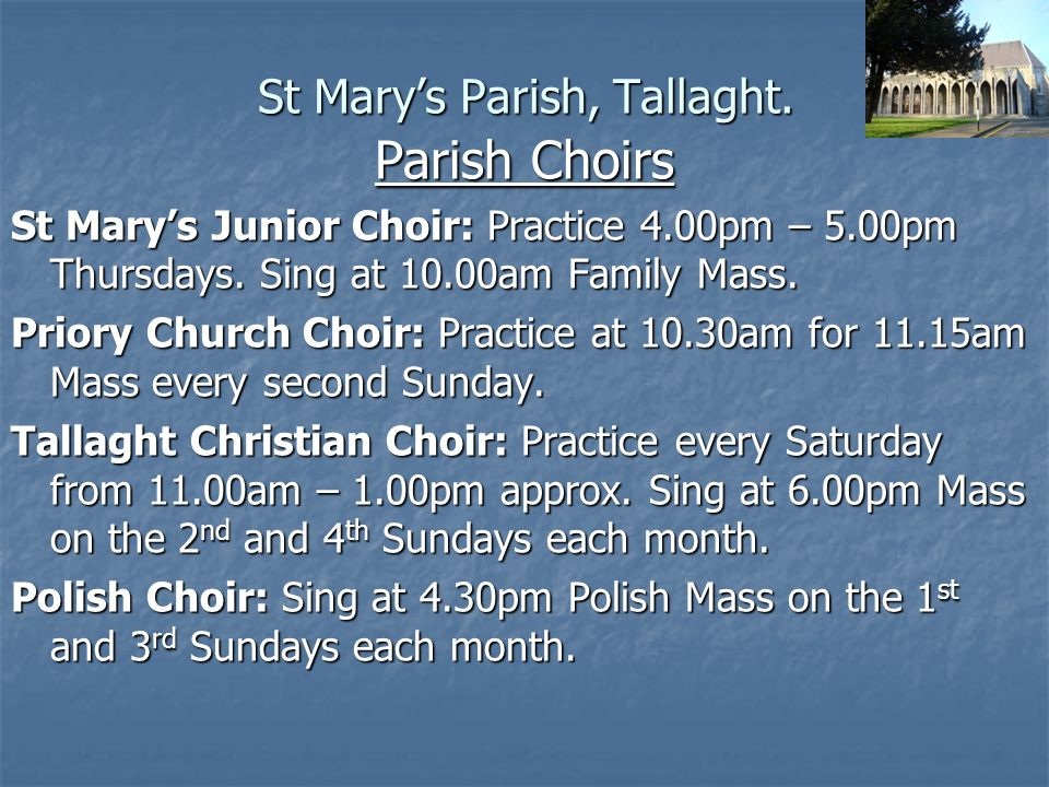 St Mary's Parish, Tallaght. Any Questions?