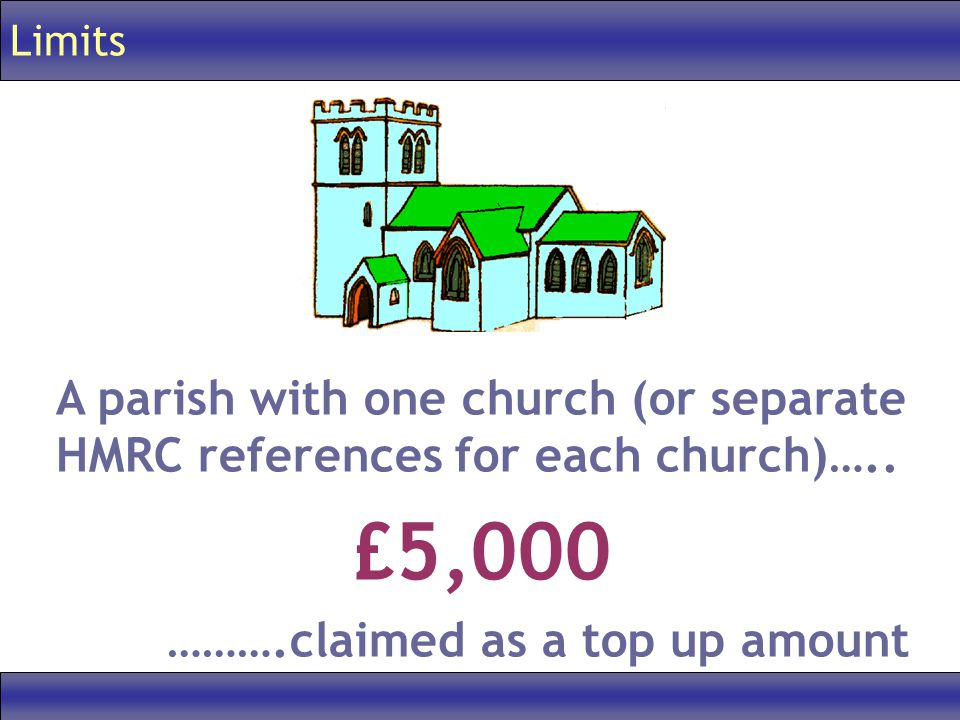Limits A parish with one church (or separate HMRC references for each church)…..
