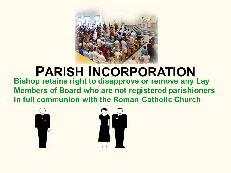 Bishop retains right to disapprove or remove any Lay Members of Board who are not registered parishioners in full communion with the Roman Catholic Church P ARISH I NCORPORATION