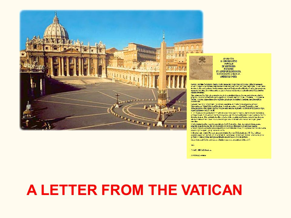 A LETTER FROM THE VATICAN