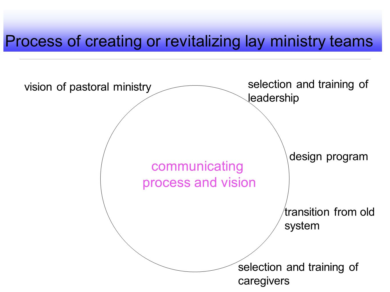 Process of creating or revitalizing lay ministry teams vision of pastoral ministry design program transition from old system selection and training of