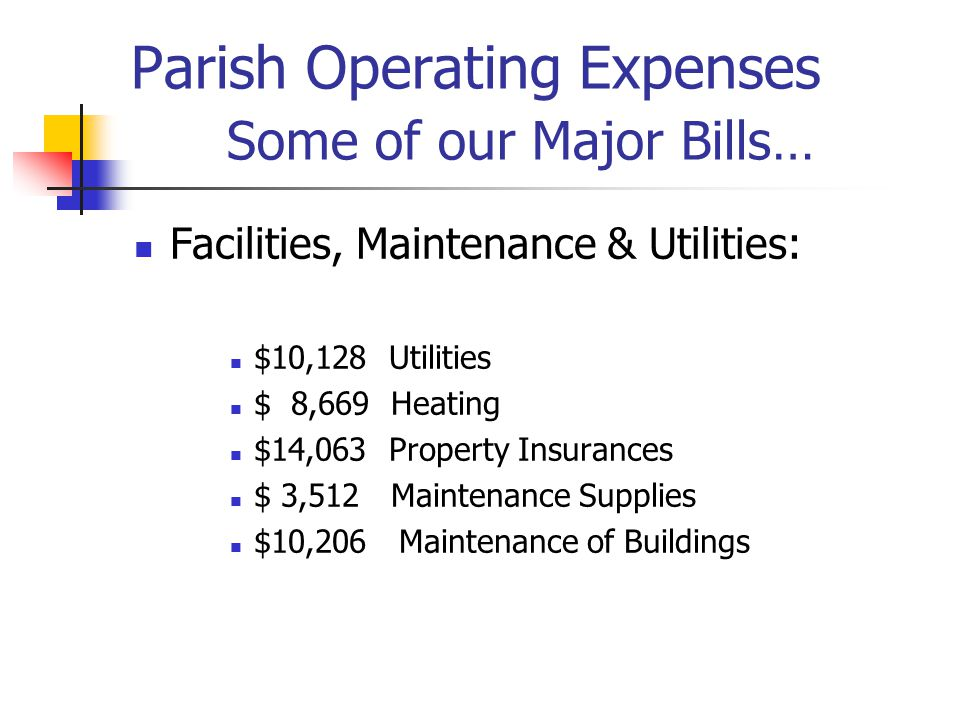 Parish Operating Expenses Some of our Major Bills… Facilities, Maintenance & Utilities: $10,128 Utilities $ 8,669 Heating $14,063 Property Insurances $ 3,512 Maintenance Supplies $10,206 Maintenance of Buildings