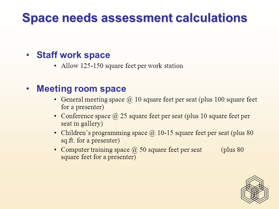 31 Space needs assessment calculations Staff work space Allow 125-150 square feet per work station Meeting room space General meeting space @ 10 square feet per seat (plus 100 square feet for a presenter) Conference space @ 25 square feet per seat (plus 10 square feet per seat in gallery) Children's programming space @ 10-15 square feet per seat (plus 80 sq.ft.