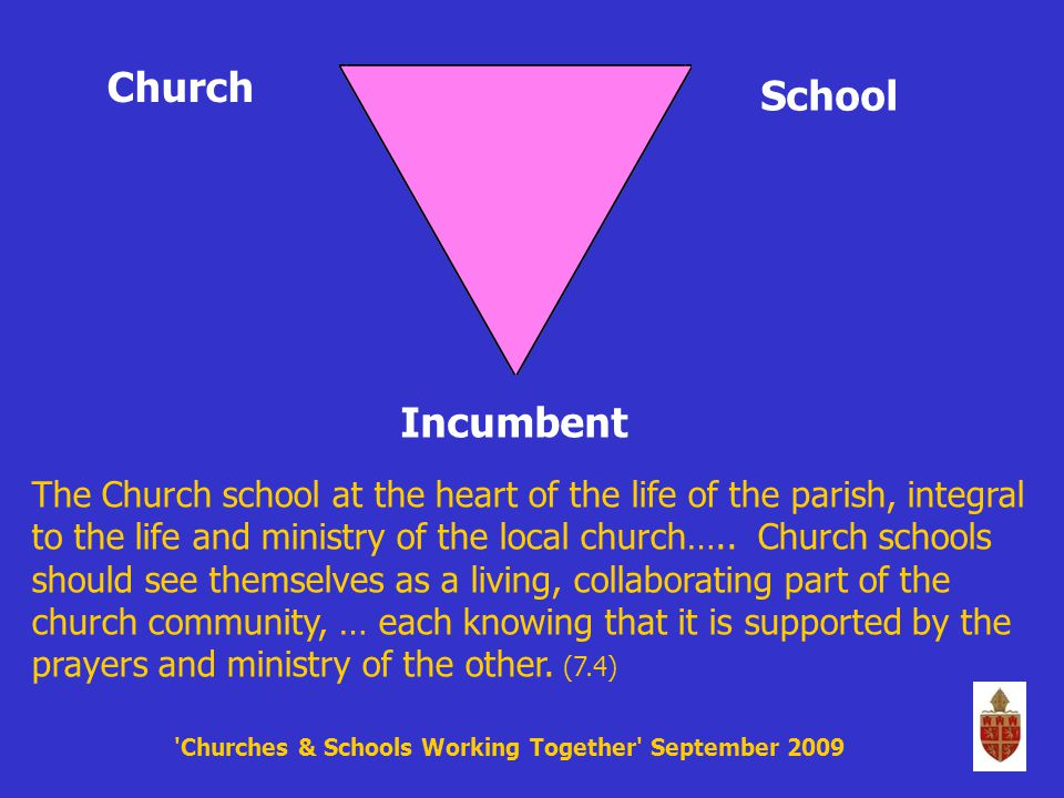 An Anglican Church Churches & Schools Working Together September 2009 evangelism mission fellowship nurture worship care ministry service