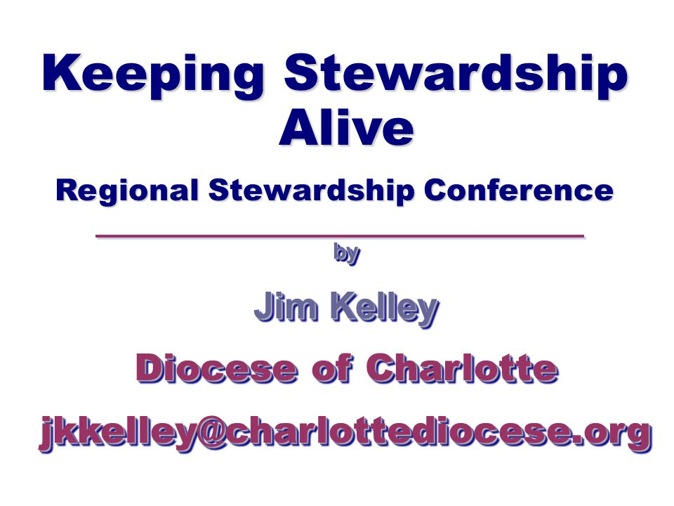 Keeping Stewardship Alive Regional Stewardship Conference by Jim Kelley Diocese of Charlotte jkkelley@charlottediocese.orgby Jim Kelley Diocese of Charlotte jkkelley@charlottediocese.org