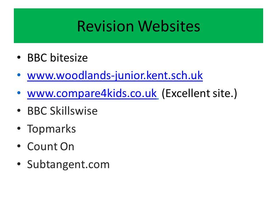 Revision Websites BBC bitesize www.woodlands-junior.kent.sch.uk www.compare4kids.co.uk (Excellent site.) www.compare4kids.co.uk BBC Skillswise Topmarks Count On Subtangent.com